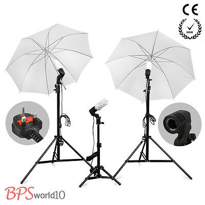 2016 Studio Photo Umbrella Light Stand Set Continuous Lighting Kit+bulb x3