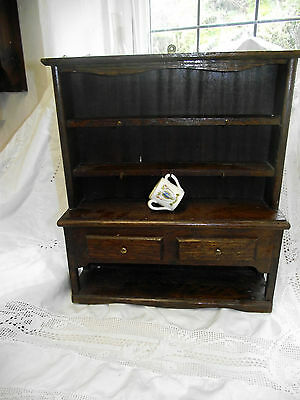 Miniature Vintage Oak Welsh Dresser for Goss items etc with 3 handled cup inc