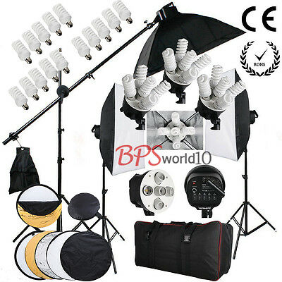 Photography Softbox Soft box Continuous Lighting Kit Studio Boom arm Reflector
