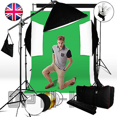 Photography Softbox Continuous lighting Kit Studio 3 Background Stand Reflector