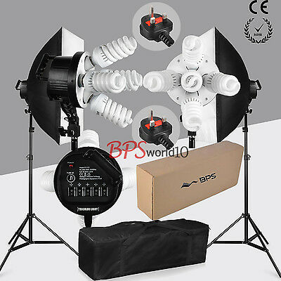 Photo 1900W Softbox Continuous Lighting Kit Studio Soft box Set Earthed 2x950W