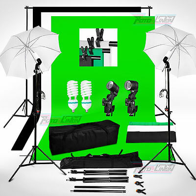 1250W Studio Umbrella Continous Lighting Photo Background Backdrop Stand Kit UK