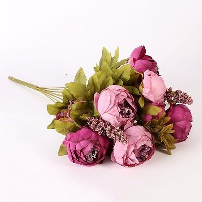 Artificial Silk Fake Flowers Peony Floral Wedding Party Rubber Plastic Flower