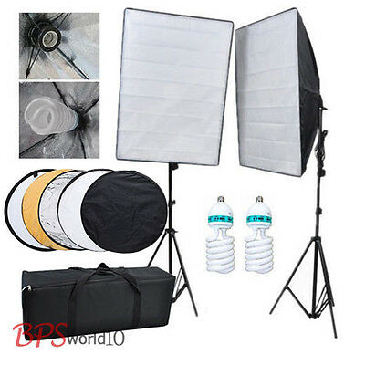"Continuous Lighting Kit Softbox Photo Studio 1250W Photography+80cm 32""Reflector"