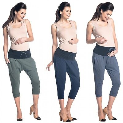 Zeta Ville - Women's maternity capri pants stretch contrast waistband - 582c