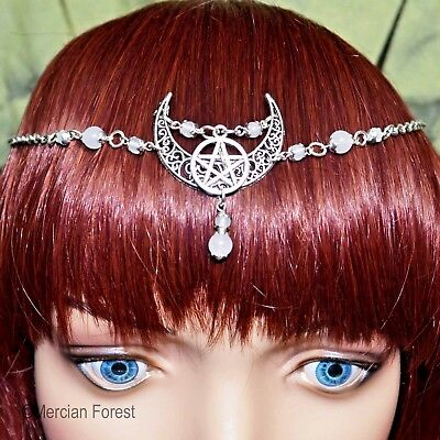 Ornate Crescent Moon Pentacle Headdress - Pagan Jewellery, Wicca, Goddess, Witch