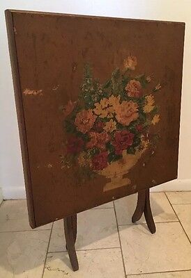 Vintage Antique wood folding card BRIDGE GAMING table Fireplace Screen