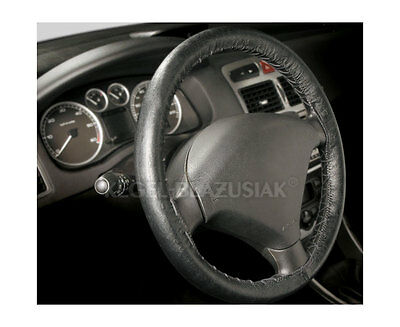 Steering Wheel Cover Top Quality Real Black Stitching Leather Skin Protector