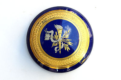 Antique French JP Depose Cobalt Blue Glass with Gold Gild Box OlympicTorch