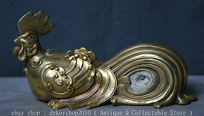 "6"" Rare Chinese Brass Copper Fengshui 12 Zodiac Year Animal Rooster Cock Statue"