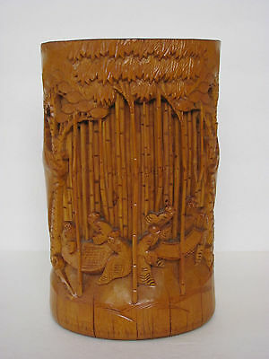 Fine Old Chinese Carved Bamboo Brush Pot 8""