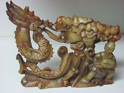 Fine Antique large Chinese Soapstone carved boy, bats and Dragon Statue