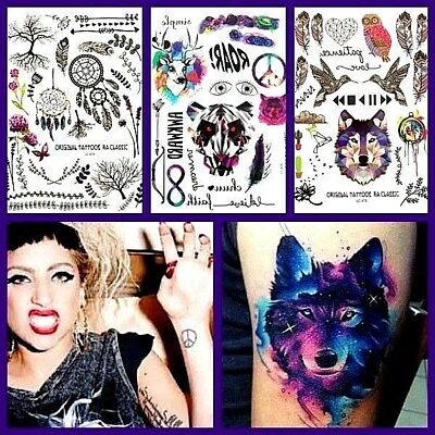 Coloured Henna Temporary Tattoos, Dreamcatchers, Feathers Gothic Festival Tattoo