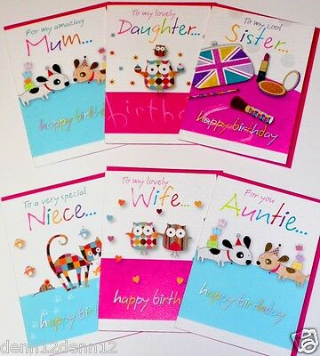 BON BON' RELATIONS CARDS x288, JUST 26p, 24 designs X 12- wrapped,TEXTURED BOARD