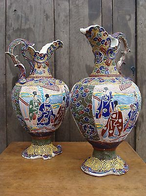Pair Large Antique Satsuma Ware Pottery Jugs / Pitchers - Marked Signed