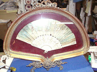 Antique French Hand Fan In Gold Gilded Shadow Box Frame