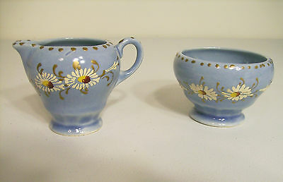 Hand Painted Porcelain Mini Creamer and Sugar Bowl Vintage And Made in USA