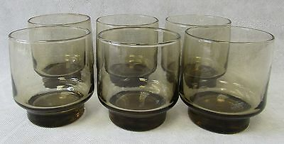 Vintage Retro 1970s Set of 6 Smoked Grey Whisky Tumblers Glasses, Fab Condition