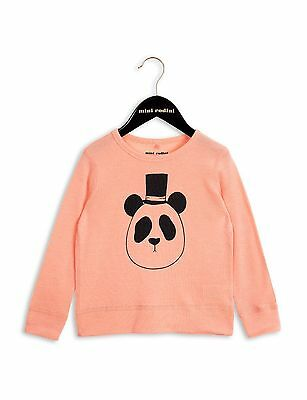 Outlet Designer Mini Rodini Coral Wool Organic Panda Tee Long Sleeve RRP £42.00