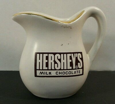 Small VINTAGE GLASS White Pitcher HERSHEY'S MILK CHOCOLATE Kitchen ADVERTISING