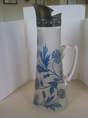 Acid Etched Baccarat Cameo Type Wine Jug Pitcher w Cloisonne Style Silver Mount