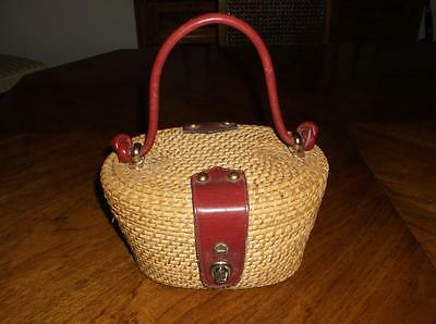 Vintage Hand Made Etienne Aigner Wicker And Leather Purse