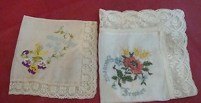 2 Antique  Silk / Embroidered Handkerchiefs  **France & Sister