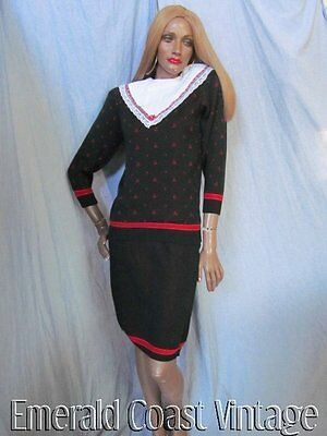 Vtg 80s GUNNE SAX Modest Semi-dressy Black & Red Sweater Skirt Dress Set M