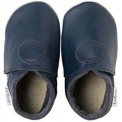 NEW Bobux Navy Classic Dot Soft Leather Sole Baby Boys Slippers Size S RRP £20