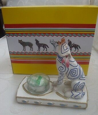 Howling Wolf Figurine with Tealight Holder Call of the Wild White Westland  NIB