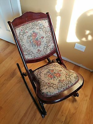 Antique Vintage Wooden Folding Rocker Rocking Chair Tapestry Victorian