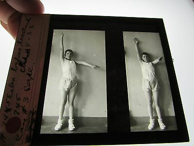Antique 1930s Medical Oddities Glass Slide #130 Photo Boy Stretching