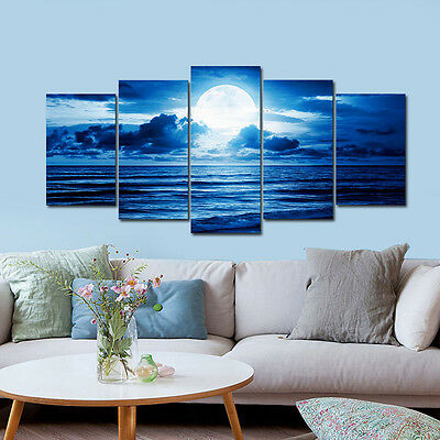 Framed Canvas Print Photo Wall Art Home Decor Poster Landscape Blue Seascape