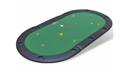 Poker Tabletop Casino 10 Person Foldable With Carry Bag Padded Sturdy Green NEW