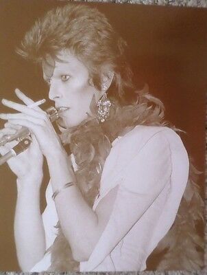 David Bowie on stage smoking in his youth Sepia Poster