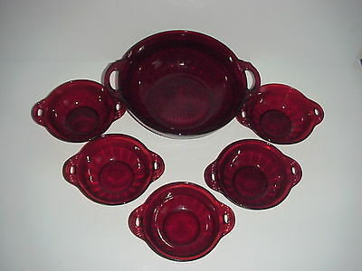 Anchor Hocking Royal Ruby Red Coronation Berry Soup Bowls Set
