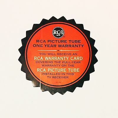 Vintage RCA Picture Tube TV Receiver One Year Warranty Sticker - NOS Dead Stock