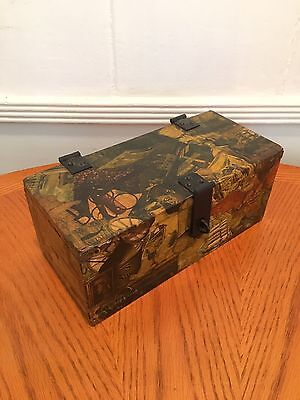 Vintage Primitive Wood Nautical Antique Tool Jewelry Box Case Chest Lock Trunk