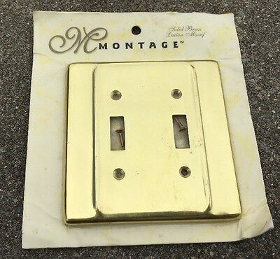 NEW Old Stock '98 Heavy SOLID BRASS Double Light Switch Cover