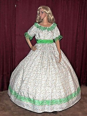 CIVIL WAR VICTORIAN PIONEER SASS DICKENS White Green Floral Costume Dress Gown