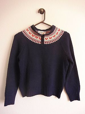 Vintage 70s PANDORA Scotchkin Kids Sweater Size M Fair Isle Button collar Navy