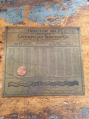 Pt-2276 VTG Caterpillar Tractor Co. 1918 Brass Plate Sign Badge OLD! Patent