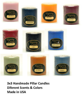 3 x 3 Solid Pillar Candles Different  Scents and Colors- Made in USA
