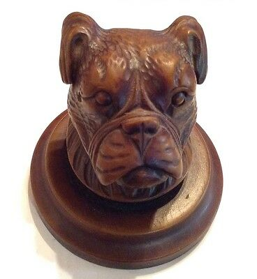 Antique  Hand Carved Wooden Bulldog Head, Banister Top Or Paperweight