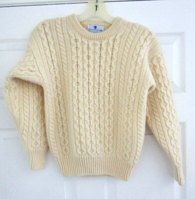 Kids Girls Boys 100% Wool Cable Knit Ivory Aran Fisherman Pullover Sweater Xl