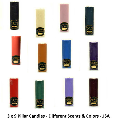 3 x 9 Solid Pillar Candles Different  Scents and Colors- Made in USA