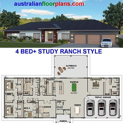 Kit homes - Construction Floor Plans - Owner Builder - 4 Bed + Study-House Plans
