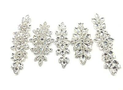 Stunning Wedding Rhinestones Bridal Applique Sew on Motif Craft Diamante Appliqu