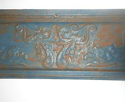 """Antique Ornate Rusty Green Cast Iron Grate Pediment - Wall Hanging  31"""" x 11"""""""