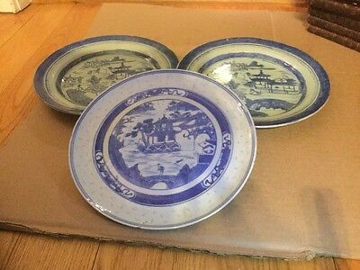Lot 3 Or ANTIQUE CHINESE EXPORT BLUE WHITE CANTON PORCELAIN PLATE